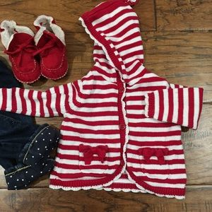 Gymboree stripe hoodie with tassel and bow detail